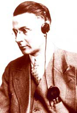 Man with antique hearing aids